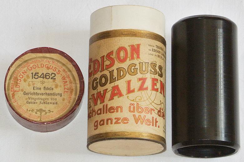 Edison Goldguss Walze Humor Hörspiel Phonograph Wachs